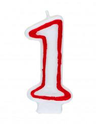 Candelina bianca e rossa numero 1