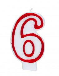 Candelina bianca e rossa numero 6