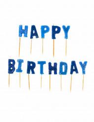 13 candeline Happy Birthday blu con brillantini