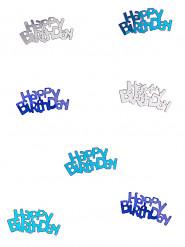 Coriandoli Happy Birthday grigi e blu per tavola