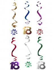 Lotto di 6 decorazioni a spirale per i 18 anni