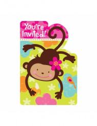 8 inviti di compleanno scimmietta