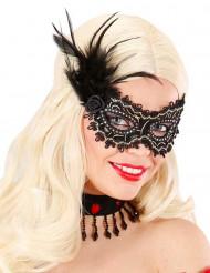 Maschera di colore nero e dorato con piume per adulto