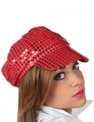 Cappello disco rosso con paillettes adulto