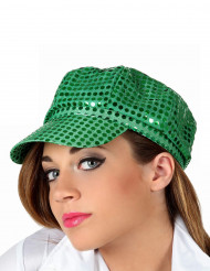 Cappello disco verde con paillettes adulto