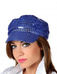 Cappello disco blu con paillettes adulto
