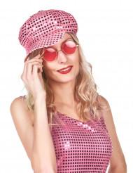 Cappello disco rosa con paillettes adulto