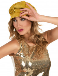 Cappello disco dorato con paillettes adulto