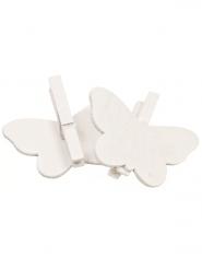 Lotto 6 farfalle bianche con molletta