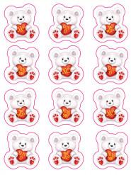 12 adesivi con orsetti San Valentino