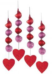 4 decorazioni da appendere con cuore 45 cm