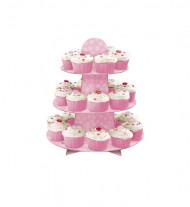 Supporto rosa a tre piani per 24 mini dolcetti