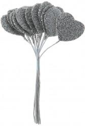 Bouquet di 12 cuori argentati