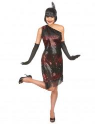 Costume Charleston di colore nero e rosso per donna