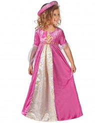 Costume rosa principessa medievale bambina