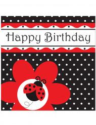 16 tovaglioli di carta con scritta Buon Compleanno e motivo coccinella 33 x 33 cm