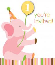 8 inviti primo compleanno animali bimba