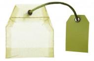 4 sacchetti per té in organza verde