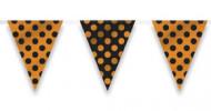 Ghirlanda di bandierine nere e arancioni a pois