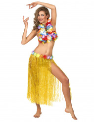 Gonna Hawaiana lunga color giallo per adulto