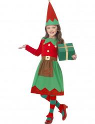 Costume verde e rosso elfo natalizio bambina