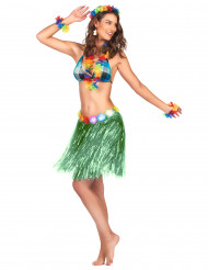 Gonna hawaiana corta verde per donna