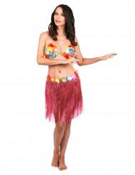 Mini gonna hawaiana colore rosa per donna