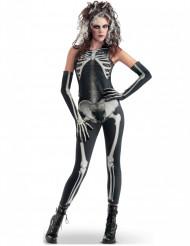 Costume aderente da scheletro sexy donna