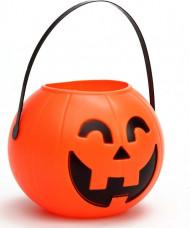 Secchiello arancione a forma di zucca per Halloween
