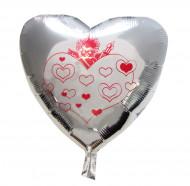 Palloncino in alluminio cuore con cupido