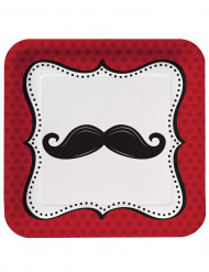 8 piattini quadrati di carta  con stampa baffi