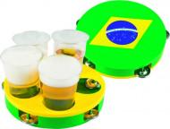 Tamburello in plastica con bandiera Brasile