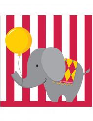 16 tovaglioli di carta con animali da circo di 33 x 33 cm