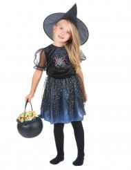 Travestimento nero da strega con ragno per bambina