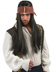 Parrucca scura da pirata per uomo
