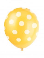 6 palloncini gialli con pois bianchi