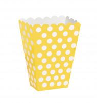 8 scatole da pop corn gialle a pois bianchi