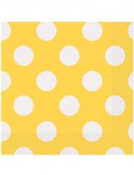 16 tovaglioli di carta gialli a pois bianchi 33 x 33 cm