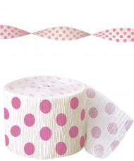 Ghirlanda di carta crespa bianca a pois rosa