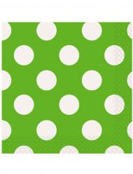 16 tovaglioli di carta verde a pois bianchi 33x33