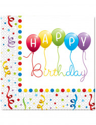 20 Tovaglioli di carta Happy Birthday 33 x 33 cm