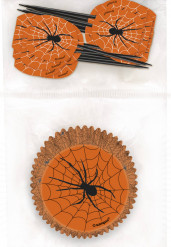 Pirottini di carta per muffin e stuzzicadenti di plastica per Halloween