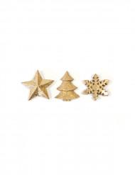 12 decorazioni dorate per la tavola di Natale