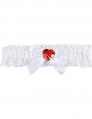 Giarrettiera sexy in pizzo bianco con cuore rosso