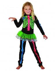 Costume da scheletro colorato per bambina