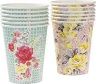 12 Bicchieri a fiori Tè tra amiche