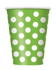 6 bicchieri verdi a pois bianchi