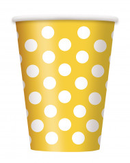 6 bicchieri gialli a pois bianchi