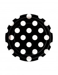 8 piattini neri a pois bianchi in cartone da 17cm