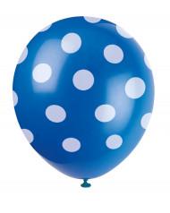 6 pallonci blu a pois bianchi